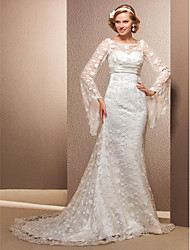 Lanting Trumpet/Mermaid Plus Sizes Wedding Dress - Ivory Court Train Scoop Lace