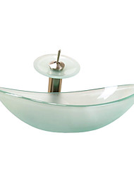 Sull Polish Ingot Style Tempered Glass Vessel Sink with Waterfall Faucet, Mounting Ring and Water Drain
