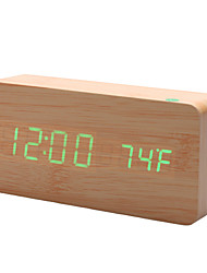 """6 """"Хаки деревянный дизайн зеленый свет рабочего будильник термометр (USB/4xAAA)"""