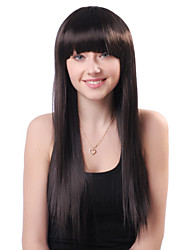 Capless Long Black Straight High Quality Synthetic Japanese Kanekalon Wigs