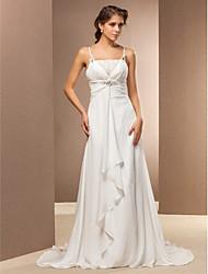 Vestido de Noiva - Marfim Justo Alças Finas Cauda Escova Chifon Tamanhos Grandes