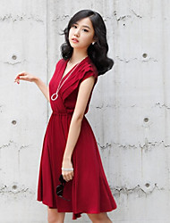 BLJY Wine V Neck Sleeveless Swing Dress