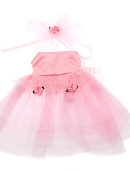 Elegant Pink High-waisted Voile Wedding Dress with Flower Tenia for Dogs