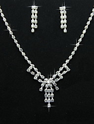 Amazing Simple Design Alloy With Rhinestone Women's Jewelry Set Including Necklace,Earrings