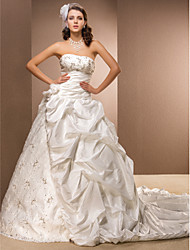 bola vestido de cetim e tafetá strapless catedral vestido de casamento de trem