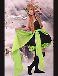 Green Ribbon Sleeveless Knee-length Black Satin Princess Lolita Dress