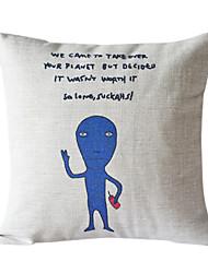 Blu extra-terrestre in cotone / lino copertura del cuscino decorativo