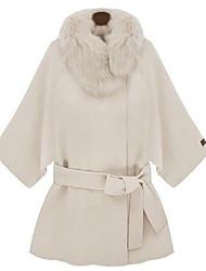 PINKLADY Women's Fur Collar Cape Woolen Coat