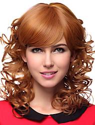 Capless Medium Curly Blonde 100% Human Hair Wigs