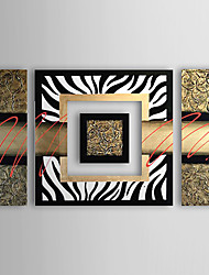 Hand-painted Modern Abstract Oil Painting Canvas Art with Stretched Frame - Set of 4