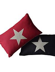 Set of 2 Star Cotton/Linen Decorative Pillow Cover