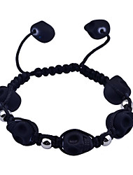 Lureme®Acrylic Skull Braided Roped Adjustable Bracelet(Assorted Colors)