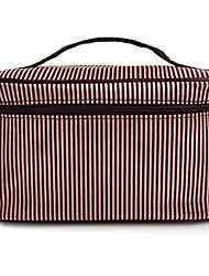 Stripe Pattern Portable Cosmetic Makeup Pouch Hand Carrying Case Bag With Cosmetic Mirror