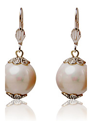 Charming Alloy Round Pearl Earrings