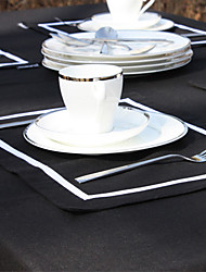 Noir / Blanc cassé Lin Rectangulaire Sets de table