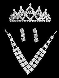 Fashionable Alloy With Rhinestone Women's Jewelry Set Including Necklace,Earrings,Tiara