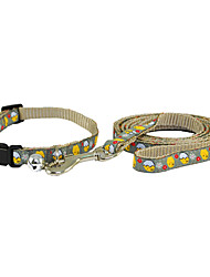 Plastic Buckle Drawable Little Chicken Pattern Dogs Collar with Leash