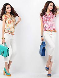 Women's Floral Pink/Yellow Ruff Collar