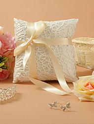 Klassische Themen White Lace Satin Mit Champagner Ribbon Bow Ring Pillow