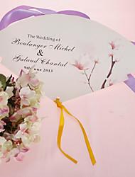 Personalized Pearl Paper Hand Fan - Sweet Flower (Set of 12)