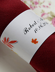 Personalized Paper Napkin Ring - Maple Leaves (Set of 50)