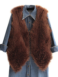 Fur Vest With Nice Sleeveless Collarless In Faux Fur Casual/Party Vest (More Colors)