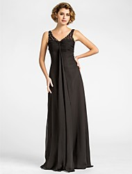 Sheath / Column Plus Size / Petite Mother of the Bride Dress Floor-length Sleeveless Chiffon with Beading / Draping / Ruching