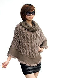 Rabbit Fur With Ruffles Party / Evening Poncho / Wrap (More Colors)