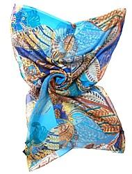 QTHY Tropical Chiffon Long Scarf(Blue)