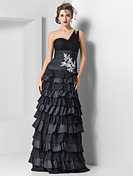 Formal Evening / Military Ball Dress - Black Plus Sizes / Petite Sheath/Column One Shoulder Floor-length Tulle / Chiffon