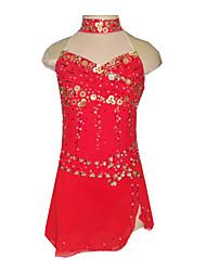 Dumb Luz Spandex elástico netos tridimensionales Flores lentejuelas Vestido de patinaje artístico ropa roja