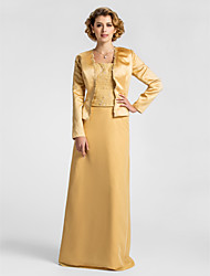 Sheath/Column Plus Sizes Mother of the Bride Dress - Gold Floor-length Long Sleeve Chiffon/Lace