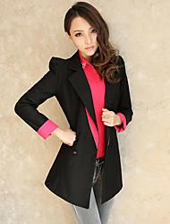 Blazer color de Longitud Mujeres Solid
