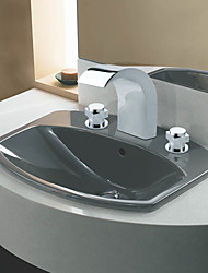 Chrome Finish Stainless Steel Widespread Contemporary Style Bathroom Sink Faucets