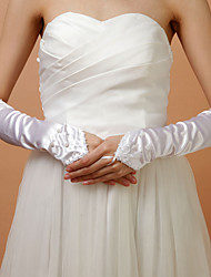 Satin Fingerless Wedding Bridal Elbow Length Gloves With Beads