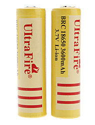 UltraFire BRC 18650 3.7V Li-ion Rechargeable Battery for Flashlight (2-Pack, Yellow, 3600mAh)