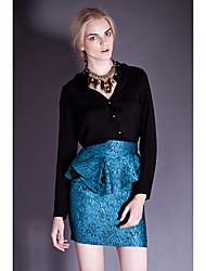 i-dou femmes jupe jacquard bleu avec peplum