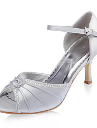 Top Quality Satin Upper Stiletto Heel Peep Toe With Rhinestone Fashion Shoes