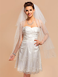 Four-tier Fingertip Wedding Veil With Pearl Edge