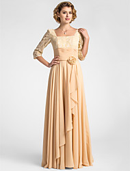 A-line Plus Size / Petite Mother of the Bride Dress Floor-length Half Sleeve Chiffon / Lace with Draping / Flower(s) / Ruching