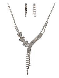gorgeous czech rhinestones liga colar de casamento folheados e brincos conjunto de jóias