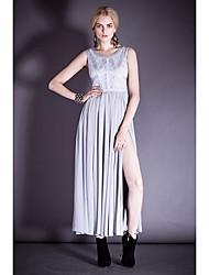 Damen Kleid - Swing Solide Polyester Rundhalsausschnitt