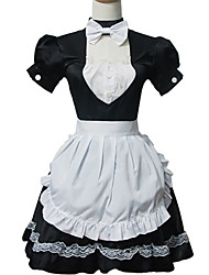 One-Piece/Dress Sweet Lolita Lolita Cosplay Lolita Dress White / Black Patchwork Short Sleeve Short Length Dress / Cravat / Apron For