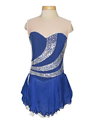 Dumb Light Spandex Elasticated Net Lace Silk Chiffon StraplessFigure Skating Clothing Royal Blue