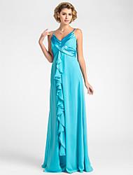 Vestido Para Mãe dos Noivos - Azul Tubo/Coluna Longo Sem Mangas Chiffon Tamanhos Grandes