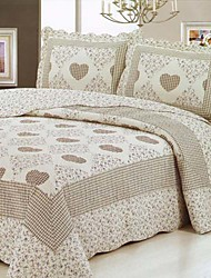 3-Piece Heart Pattern Washed Cotton Quilt Set