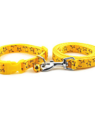 Drawable Stars Pattern Collar with Little Bell and Leash for Dogs