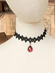 Blace Lace Halskette Halsband mit Red Teardrop-Anhänger