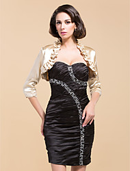 3/4-Length Sleeve Satin/Organza Special Occasion Evening Jacket/Wedding Wrap(More Colors) Bolero Shrug