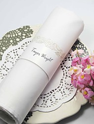 Rose Design Pearl Paper Napkin Ring (Set of 12)
